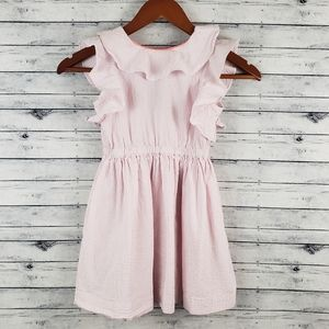 Crewcuts Pink/White Striped Seersucker Dress Sz 6